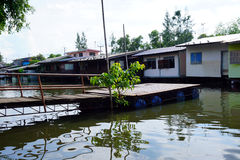 House on stilts. Views of the city's Slums from the river. In Bangkok, Thailand Royalty Free Stock Photo
