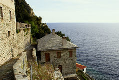 House with stones. A photo of house with stones at Mount Athos royalty free stock photos