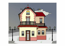 House in stormy weather. Vector illustration of an old house, EPS 8 file Stock Illustration