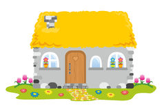 House with a straw roof. The house with a straw roof Royalty Free Stock Photo