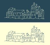 House and street city pattern. Illustration Stock Images