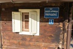 The house on the street of Diego Maradona in Drvengrad Kusturica, Serbia stock photo