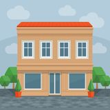 House in street, front view. Front of house. Vector cartoon detailed illustration. stock illustration