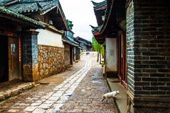 House and street of Lijiang Shuhe old town Royalty Free Stock Photos