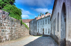 House in the street the medieval castle Royalty Free Stock Photo