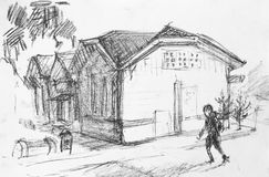 House on street, pencil drawing Stock Photos