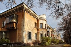 House on Stroiteley Street in Magnitogorsk city, Russia royalty free stock photography