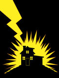 House Struck by Lightning. A vector of silhouette of lightning striking a house Royalty Free Stock Photography
