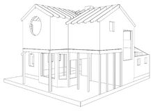 House structure architecture. Abstract drawing. Tracing illustration of 3d.  Stock Photos