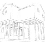 House structure architecture. Abstract drawing. Tracing illustration of 3d.  Stock Photography