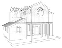House structure architecture. Abstract drawing. Tracing illustration of 3d.  Stock Images