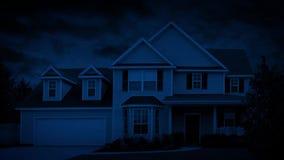 House In Suburbs On Windy Nightse At Night stock footage