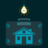 House in a suitcase in a dark room. Under the light bulb. Buying a home, insurance. Investment in real estate. The illegal deal royalty free illustration