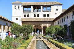 House of the Sultan in the Generalife Gardens, Granada, Spain stock images