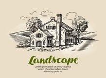 House, summer cottage sketch. Vintage farm, rural landscape vector illustration Royalty Free Stock Photos