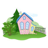 House at summer. Pink-yellow house at summer Royalty Free Stock Photography