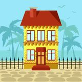 Yellow house with red roof near ocean. Yellow two storey house with red roof near ocean. Summer street in tropical city. Beach sea palm trees and birds stock illustration