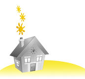 House and sun. Designed house for real estate project and sunny days Stock Photo