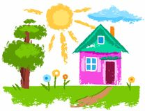 The house and the sun, baby pictures, colored chalk. Vector illustration with a house. Near the house a tree and a few flowers. Crayons, imitation texture. A Royalty Free Stock Photos