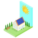 House with Sun Batteries on the roof. Solar energy. Stock Photos
