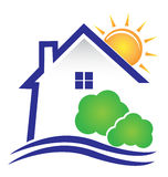 House sun and bushes logo Stock Photo