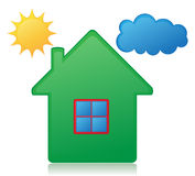 House sun and cloud concept vector illustration Royalty Free Stock Images