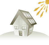 House and sun energy Stock Photos