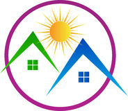 House with sun. A vector drawing represents house with sun design Royalty Free Stock Image