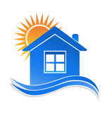 House sun and waves logo Royalty Free Stock Photography