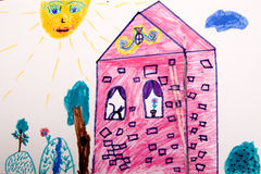 House in sunny day. Child`s picture. House in sunny day Stock Photos