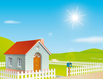 House at a sunny day. Illustration of a house at a sunny day Stock Photography