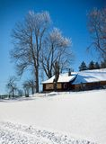 The house in sunny winter landscape Royalty Free Stock Photos