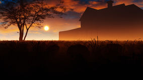 House In Sunset Meadow Royalty Free Stock Photo