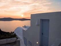 House with sunset in Santorini island Royalty Free Stock Photography