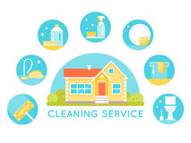 House Surrounded by Cleaning Services Images. Household Cleaning Agents and Tools Round Icons. Flat Design royalty free illustration