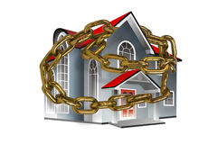 House surrounded by gold chain. Large gray house with red roof wrapped around by a gold chain all isolated on white background Royalty Free Stock Photo