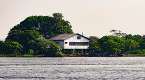 House surrounded by nature and suspended on air by some logs. Old wooden house on the margins of a river of Pantanal, Brazil and some boats on the margin of the Stock Photography
