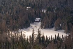 House surrounded by pine trees at Val David royalty free stock photos