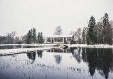 House Surrounding by Trees and Body of Water Photography Royalty Free Stock Image