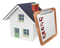 House and Survey Clipboard Concept. Of a house with a giant clipboard or survey leaning on it Royalty Free Stock Image
