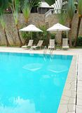 House with swimming pool landscaped stock images