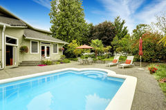 House with swimming pool. Real estate in Federal Way, WA Royalty Free Stock Images