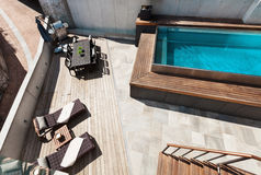 House, swimming pool view. Modern house, swimming pool view, outdoor stock photo