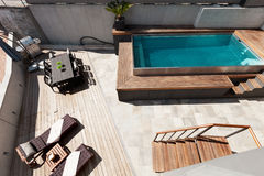 House, swimming pool view Stock Images