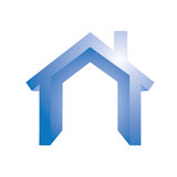 House symbol. Blue house symbol on white background Stock Photo
