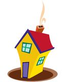 House symbol. Yellow house which has smoke on it Royalty Free Stock Image