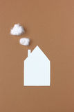 House symbol abstract paper cut with fluffy cotton steam Stock Photography