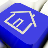 House Symbol Computer Key In Blue Showing Real Estate Or Rentals Stock Photography