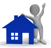 House Symbol And 3d Character Showing Real Estate Stock Photo