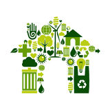 House symbol with environmental icons Stock Photos